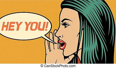 bello, stile, donna, loud), (shouting, -, ehi, illustrazione, chiamata, qualcuno, vettore, arte popolare, lei