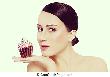 bello, stile, lei, vendemmia, giovane, cupcake, saporito, ritratto, ragazza, mano, espressione, eccitato