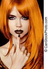 bello, stile, moda, hairstyle., girl., labbra, nero, ritratto, polacco, woman., voga, nails.