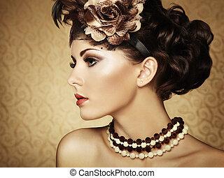 bello, stile, vendemmia, retro, ritratto, woman.