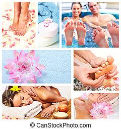 bello, terme, collage., massaggio
