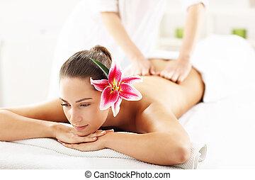 bello, terme, donna, massaggio, prendere