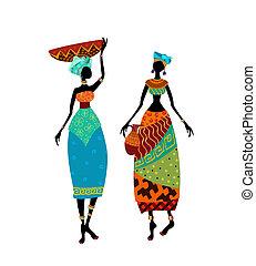 bello, tradizionale, donna, costume, africano