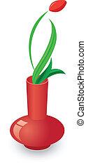 bello, tulips, rosso, vaso