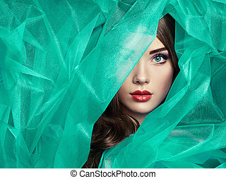 bello, turchese, moda, foto, sotto, velo, donne