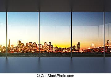 bello, ufficio, tramonto, interno, vuoto, vista