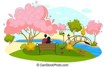 bello, vettore, uomo, carattere, data, romantico, bianco, pacifico, ragazza, park., posto, appartamento, disegno, coppia, isolato, illustration., paio, sedere