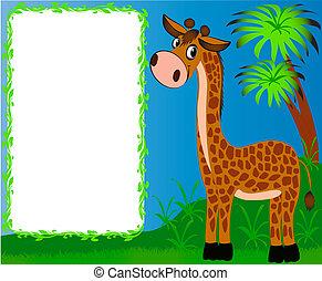 bello, vivaio, fondo, palme, giraffa, cornice