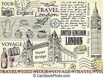 ben, grande, illustrazione, vettore, londra, torre, bridge.