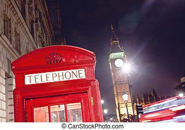 ben, grande, telefono, londra, cabina, rosso