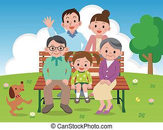 benc, felice, parco, famiglia, seduta