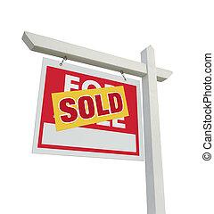 bene immobile venduto, segno vendita, casa, bianco