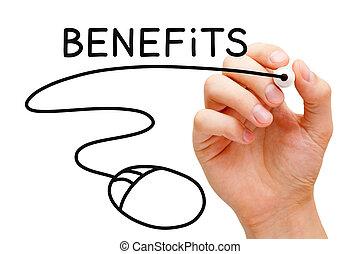 benefici, concetto, topo