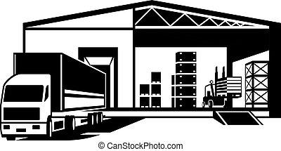 beni, caricato, magazzino, camion