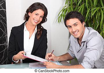 beni immobili, casa, giovane, agente, femmina, acquisto, uomo
