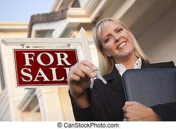 beni immobili, chiavi, casa, agente, segno, fronte