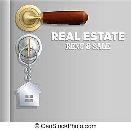 beni immobili, vettore, vendita, bandiera, affitto, concetto, manifesto