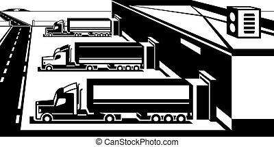 beni, magazzino, caricamento, camion