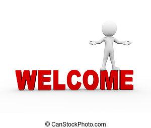 benvenuto, atteggiarsi, posa, aperto, braccio, gesto, 3d