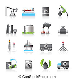 benzina, industria, olio, icone