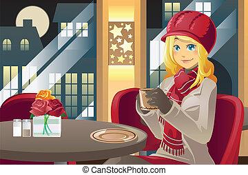 bere, donna, caffè, inverno