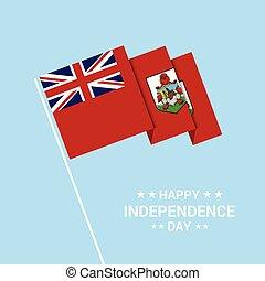 bermude, tipografico, bandiera, vettore, disegno, giorno, indipendenza