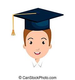 berretto, avatar, graduazione, uomo