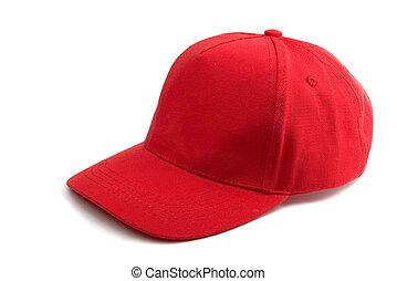 berretto, baseball, rosso