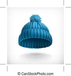 berretto, blu, lavorato maglia