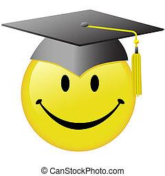 berretto, bottone, smiley, graduazione, laureato, faccia, felice