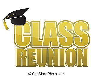 berretto, classe, graduazione, riunione