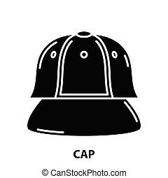berretto, colpi, illustrazione, concetto, icona, vettore, nero, segno, editable