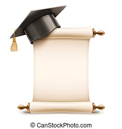 berretto, diploma, graduazione, rotolo