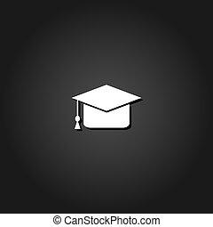 berretto, flat., graduazione, icona