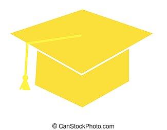 berretto, giallo, graduazione