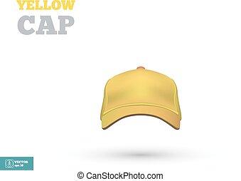 berretto, giallo, vettore, baseball, fronte, vista., template.