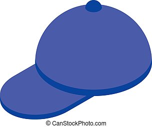 berretto, icona, blu, stile, baseball, isometrico