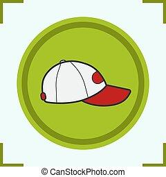 berretto, icona, colorare, baseball