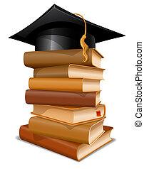 berretto, libri, pila, graduazione
