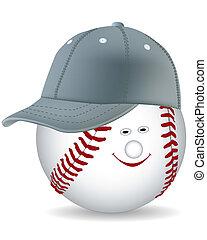 berretto, palla, baseball, sorridente