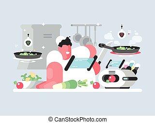 berretto, prepara, cuoco, delizioso, piatto, pietanza, bianco