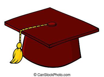 berretto, rosso, graduazione