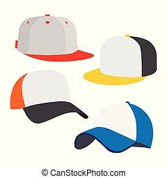 berretto, set, baseball, icona