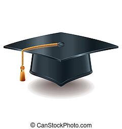 berretto, vettore, graduazione, illustrazione