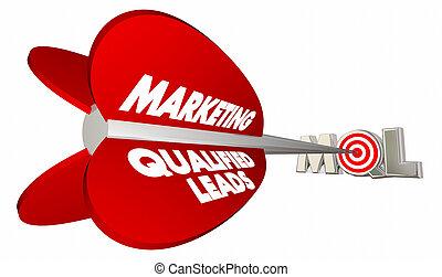 bersaglio, vendite, marketing, mql, illustrazione, arco, piombi, qualificato, freccia, 3d