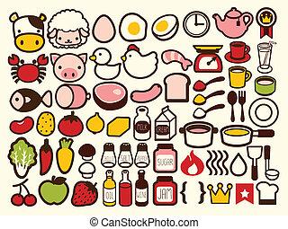 bevanda, cibo, icona, 50