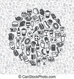 bevanda, icone, cibo