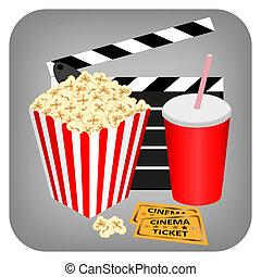 bevanda, popcorn, biglietti, -, cinema