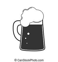 bevanda, vetro., bianco, beer., tazza birra, schiumoso, fondo., isolato