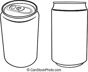 bevanda, vettore, lattina, contorno